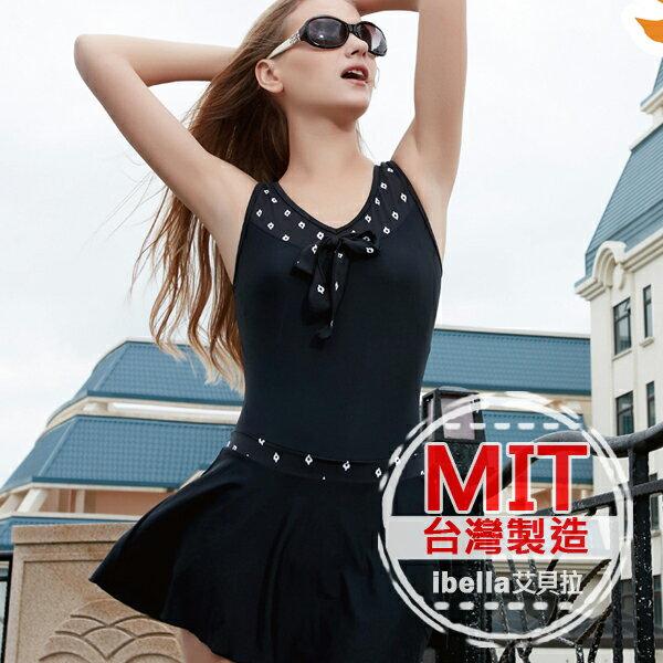 連身泳裝MIT台灣製造v領蝴蝶結裙式連身泳衣(附帽)預購【36-66-84137】ibella 艾貝拉