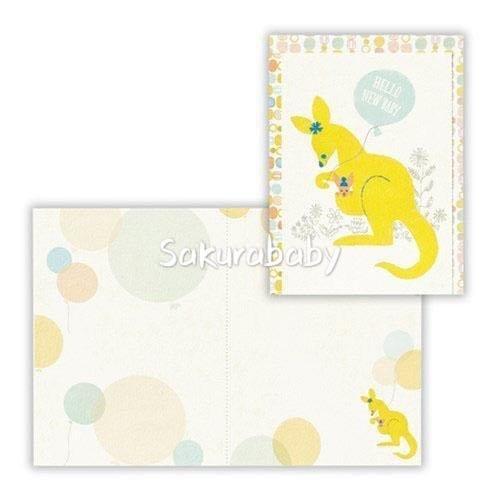 日本製 生產祝賀卡 母親節卡片 親子圖案 母與子 大象&袋鼠款 _櫻花寶寶