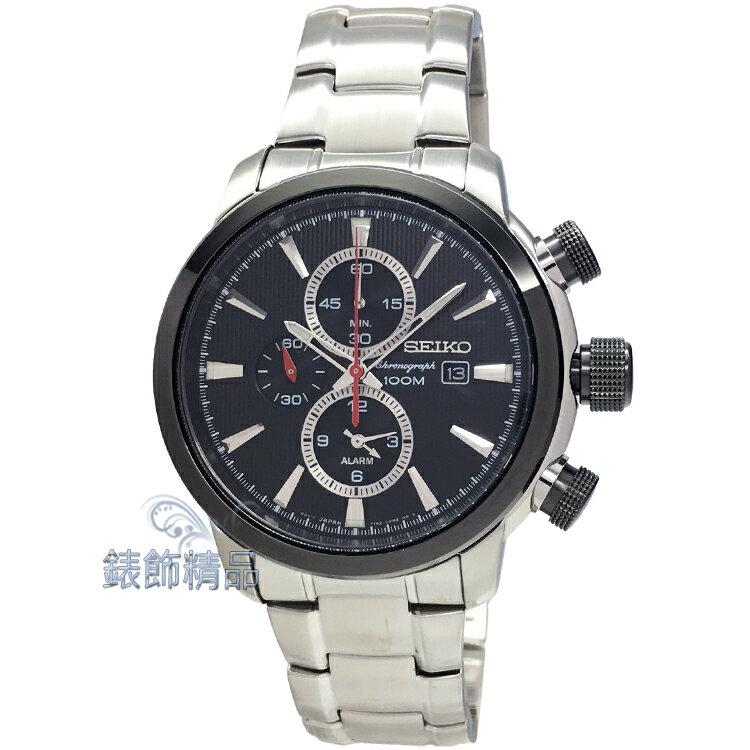 【錶飾精品】SEIKO錶 精工表 多功能鬧鈴計時碼錶 日期 黑面鋼帶男錶 SNAF47P1 全新原廠正品 情人生日禮物