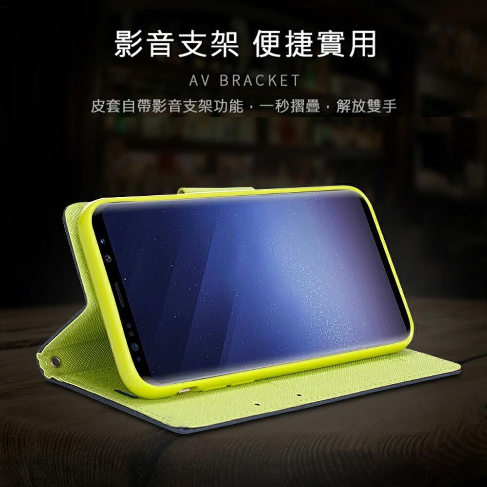Samsung Galaxy S10e (5.8 吋) 馬卡龍雙色手機皮套 撞色側掀支架式皮套 矽膠軟殼 粉紅綠黑棕多色可選 2
