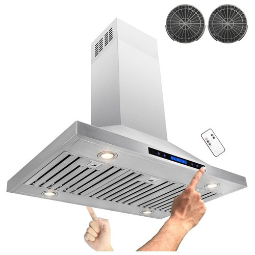 "36"" Stainless Steel Island Mount Dual LED Touch Control Panel Kitchen Ductless Range Hood w/ Remote 1"