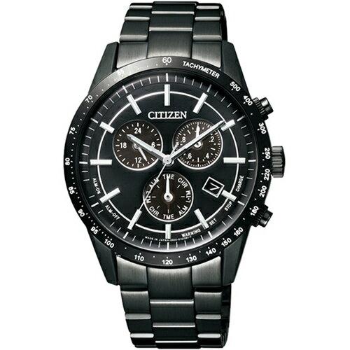 CITIZEN星辰BL5495-56E炫黑經典賽車計時光動能腕錶/黑面39mm