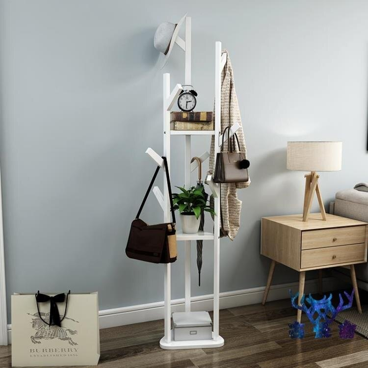 衣帽架實木置物架多功能收納架簡約家用掛衣架