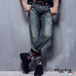 【春夏新品】刷破迷彩火焰低腰直筒褲(牛仔藍) - BLUE WAY  JIZO 地藏小王
