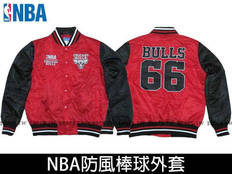 Shoestw【8560718-110】NBA 棒球外套 排釦 防風 芝加哥 公牛 光滑面 合身款 紅黑66 爆裂手袖