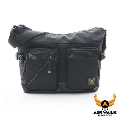 AIRWALK - 【禾雅】頂級黑金皮標 閃靈系列 菱格針織紋 中容量 雙口袋兩用包 A4筆電公事包 - 閃靈黑