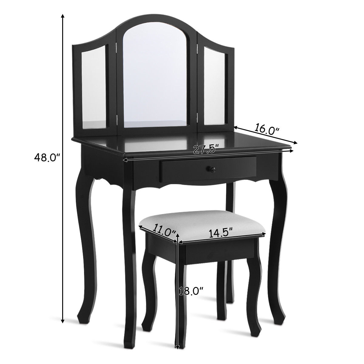 Costway Black Tri Folding Mirror Vanity