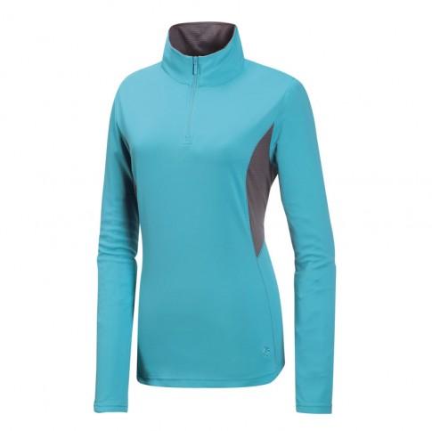 【【蘋果戶外】】山林21P38-76粉藍Mountneer女透氣排汗長袖上衣吸濕排汗衣防曬抗UV彈性