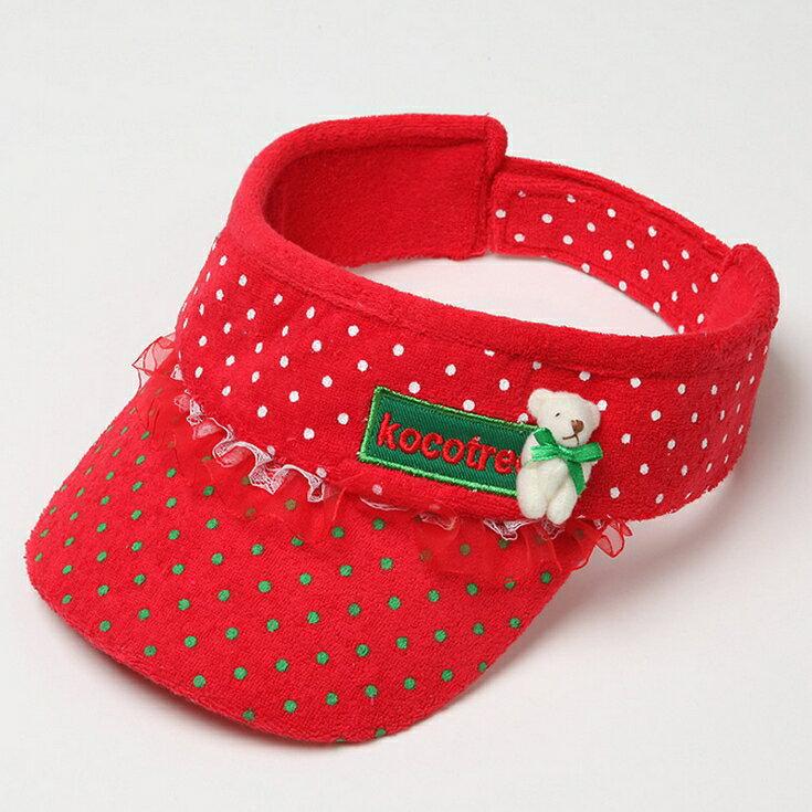 Kocotree◆時尚可愛蕾絲小熊字母點點兒童遮陽帽空頂帽-紅色