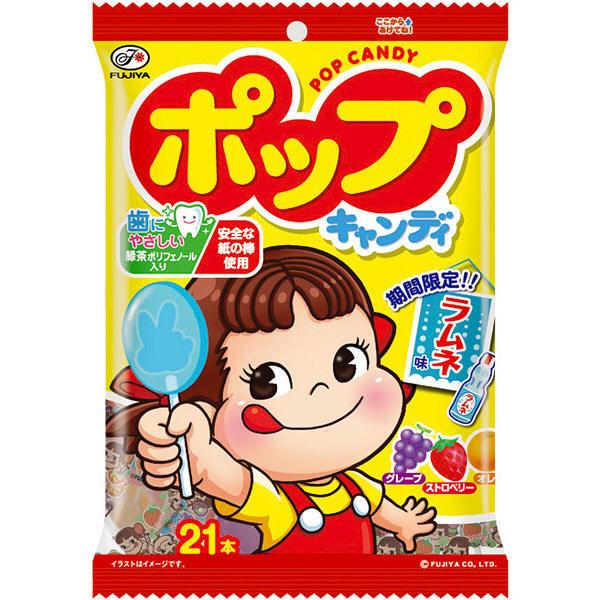 【Fujiya不二家】綜合4種口味POP棒棒糖21支入-草莓/橘子/葡萄/彈珠汽水 121.8g ????????袋