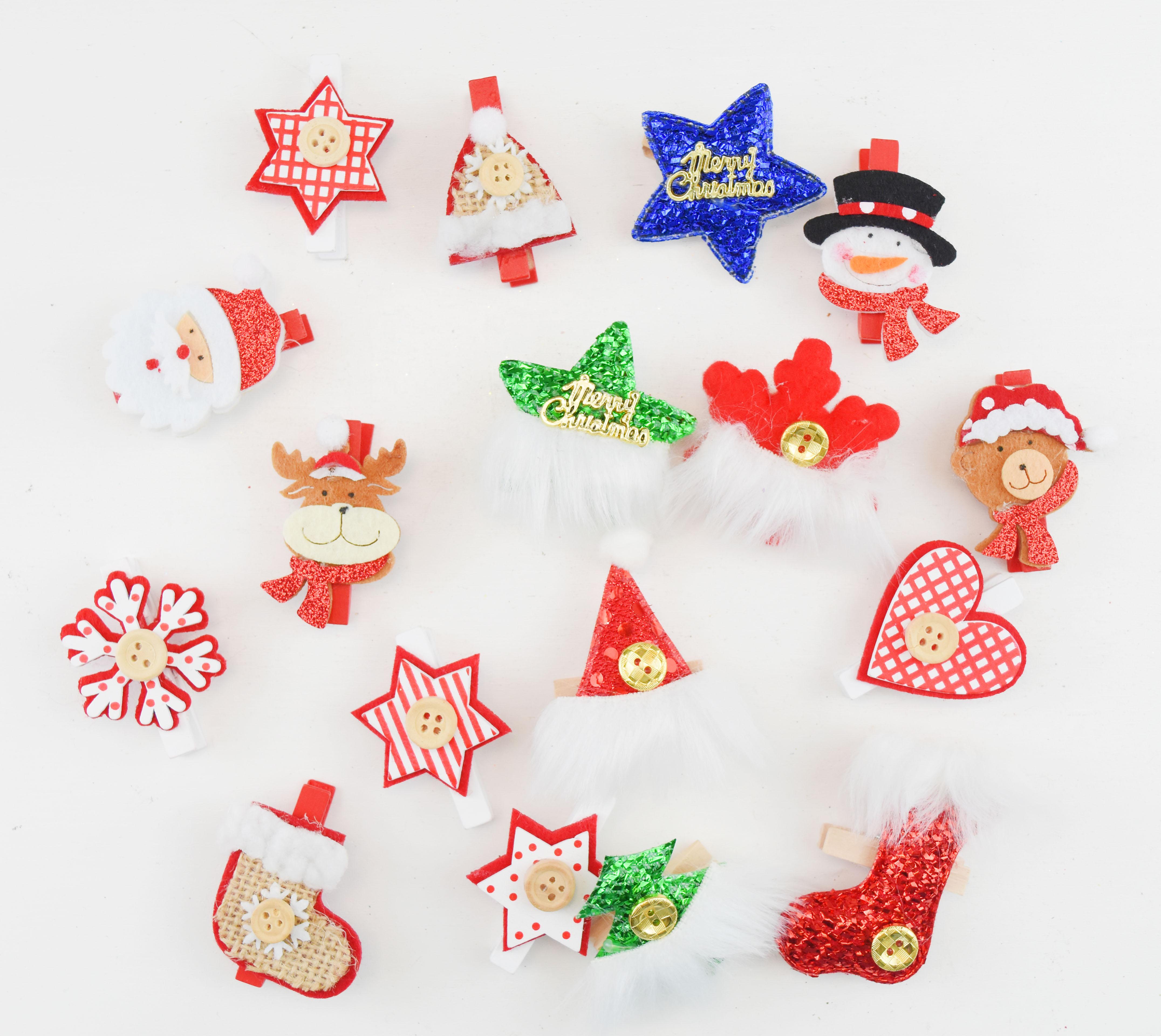 X射線【X021060】聖誕小夾子11款(3入)任選只要39元,聖誕節/聖誕佈置/聖誕掛飾/聖誕裝飾/聖誕吊飾/聖誕小物/木夾子