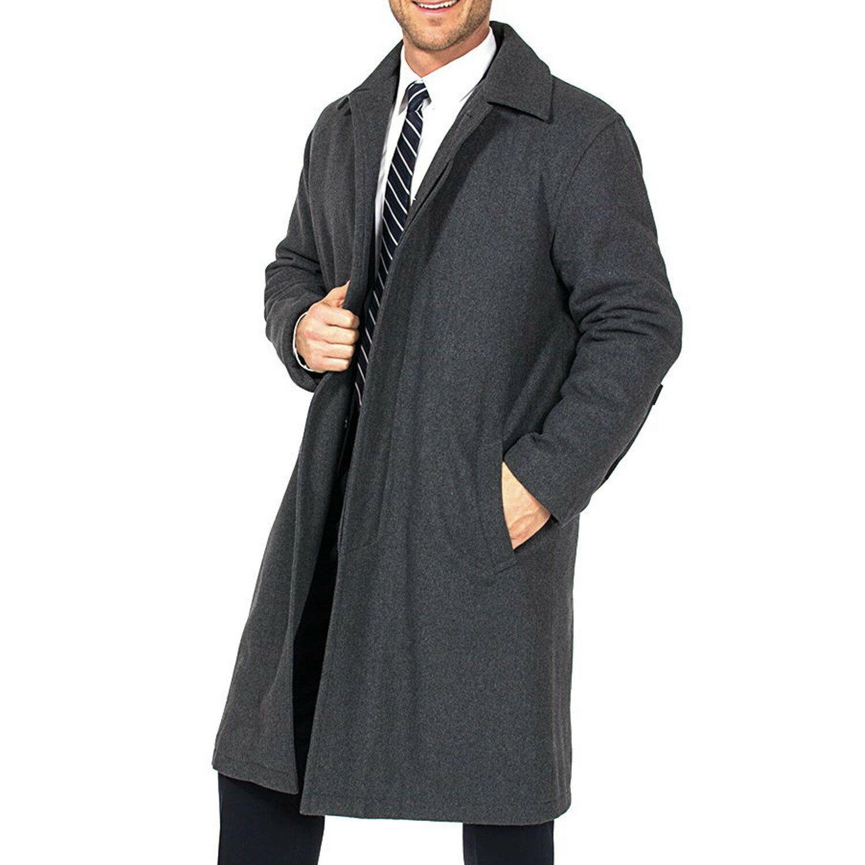 Alpine Swiss Men's Zach Knee Length Jacket Top Coat Trench Wool Blend Overcoat 3