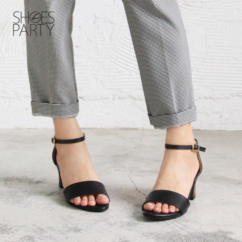 【S2-17613L】春夏必備簡約一字設計中跟涼鞋_Shoes Party 5