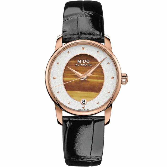 Mido 美度錶 M0352073647100 Baroncelli系列 虎眼石優雅機械腕錶 / 棕 33mm
