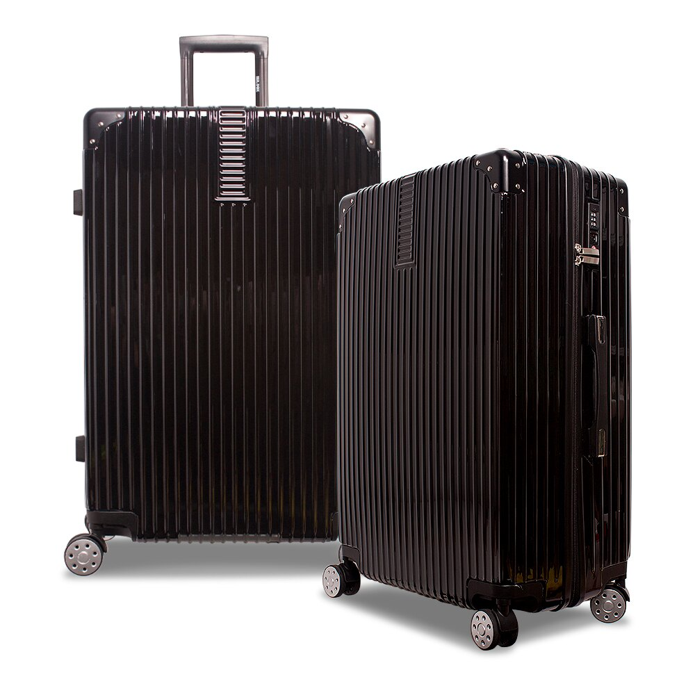 E&J【008020-02】MR.BOX威爾 28吋PC+ABS鏡面拉鍊行李箱 旅行箱-黑色