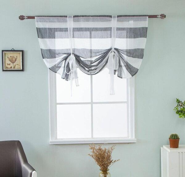 北歐條紋羅馬簾窗簾【寬117*高160公分】特殊綁帶變換造型極簡風格