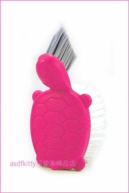 asdfkitty可愛家☆日本製-AIWA桃紅色烏龜造型清潔刷/細縫刷尖頭刷-地板.牆壁.磁磚縫清潔