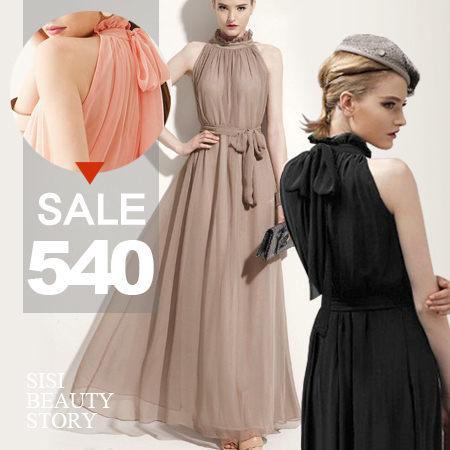 SISI【D5106】完美女神荷葉立領領墜感綁帶無袖長裙洋裝削肩縮腰雪紡連身裙