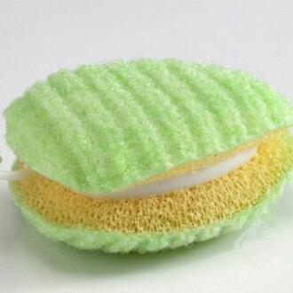 日本【SANKO】重點清潔洗衣刷/免洗劑海綿洗衣刷/廚房小幫手/日本製造/菜瓜布╭。☆║.Omo Omo go物趣.║☆。╮