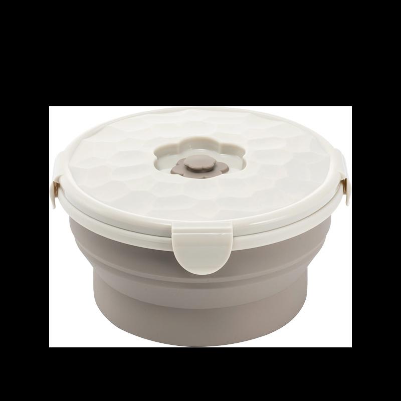 【圓形 矽膠折疊保鮮盒】保鮮盒 摺疊餐盒 矽膠餐盒 折疊碗 摺疊碗 便當盒 泡麵碗 微波便當盒【AB486】