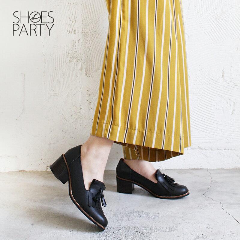 【P2-18122L】真皮流蘇樂福粗跟鞋_Shoes Party 3