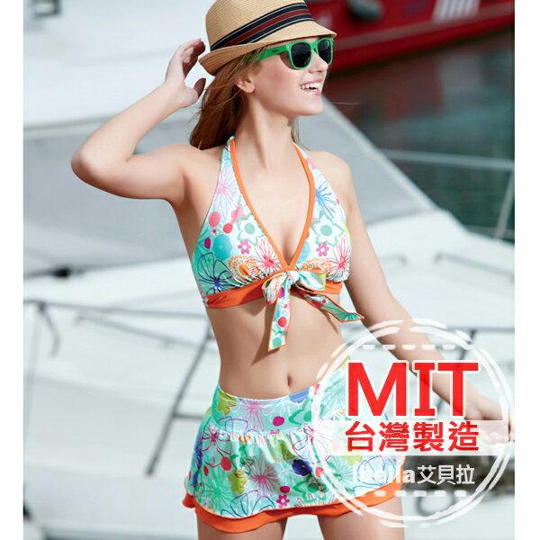 二件式比基尼 MIT台灣製造花朵印花裙式比基尼泳衣(附帽) 預購【36-66-85135】ibella 艾貝拉