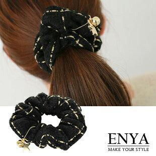 黑白格紋彈性髮圈 Enya恩雅^(正韓飾品^)~HAAW6~