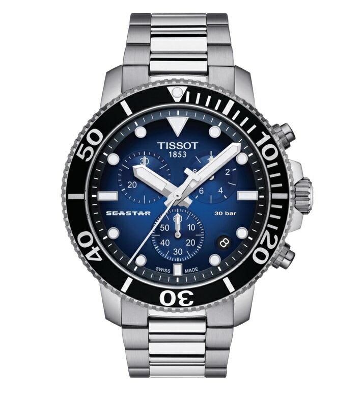 TISSOT 天梭表 T1204171104101 海洋之星潛水300米計時腕錶  / 漸層藍 45mm 0