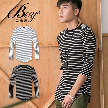☆BOY-2☆ 【JN7308】下圓擺條紋長版長袖上衣 0