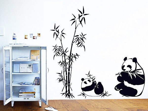 BO雜貨【YV3472】高品質創意牆貼 壁貼 背景貼 磁磚貼 壁貼樹 時尚組合壁貼 大熊貓