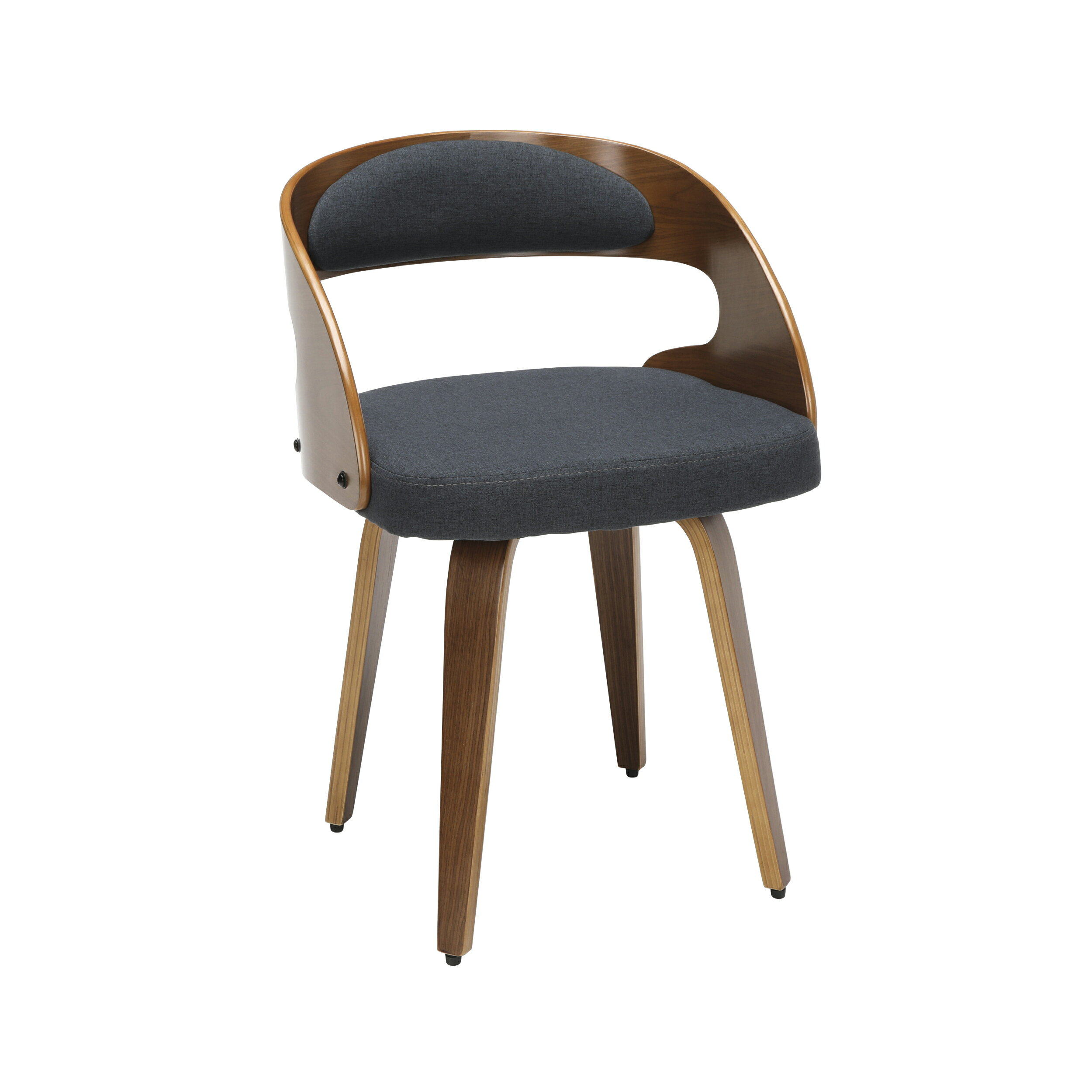 Ofm 161 Collection Mid Century Modern 18 Bentwood Frame Dining Chairs With Fabric Back And Seat Cushion In Walnut Navy 161 Wf18a Nvy