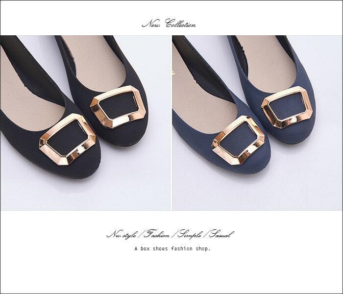 格子舖*【AW1280】MIT台灣製 簡約時尚絨布材質金屬框設計 3.5CM低粗跟 圓頭包鞋 2色 1