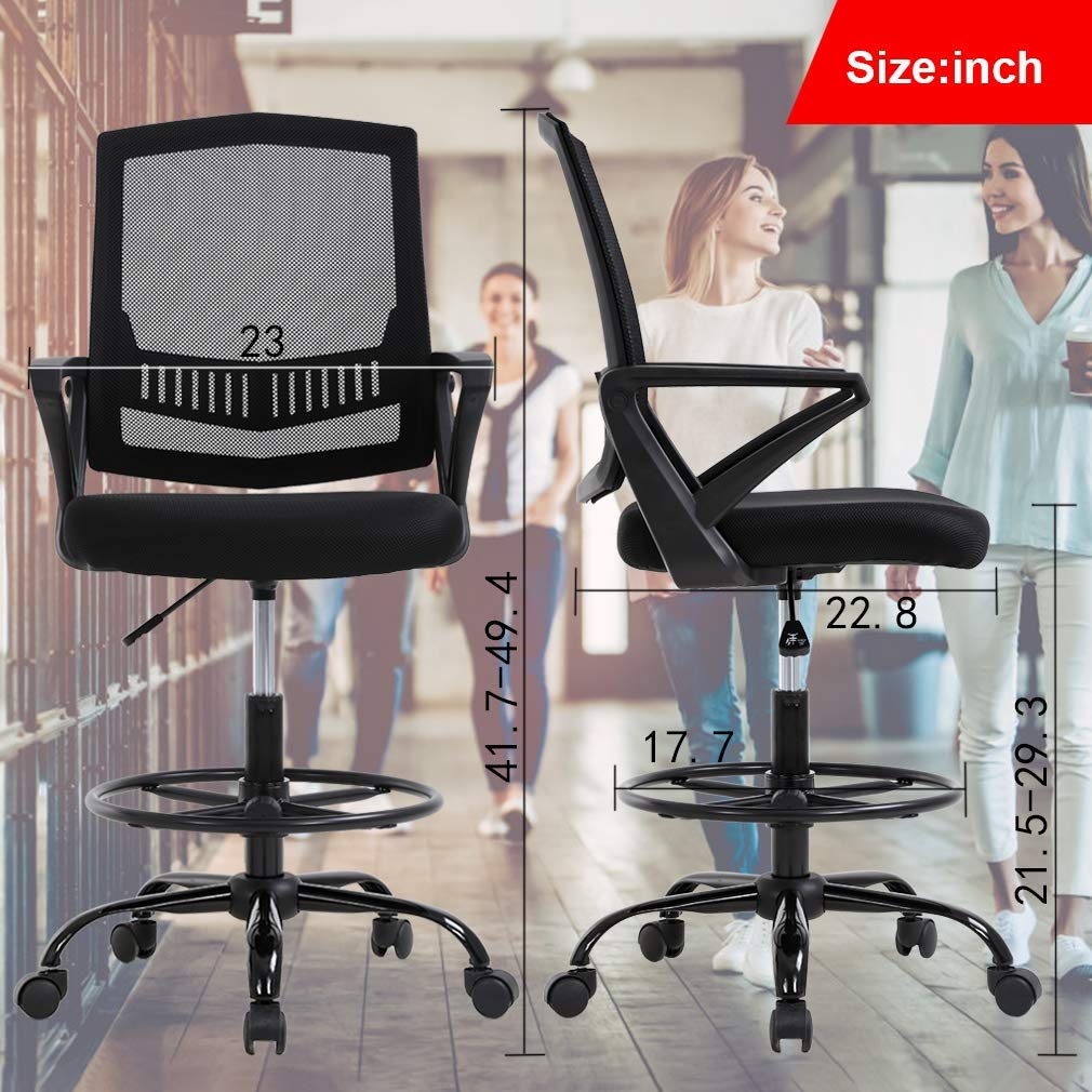 Pleasing Mid Back Mesh Drafting Chair Office Chair Desk Chair Adjustable Height With Lumbar Support Flip Up Arms Rolling Swivel Computer Chair For Women Men Cjindustries Chair Design For Home Cjindustriesco
