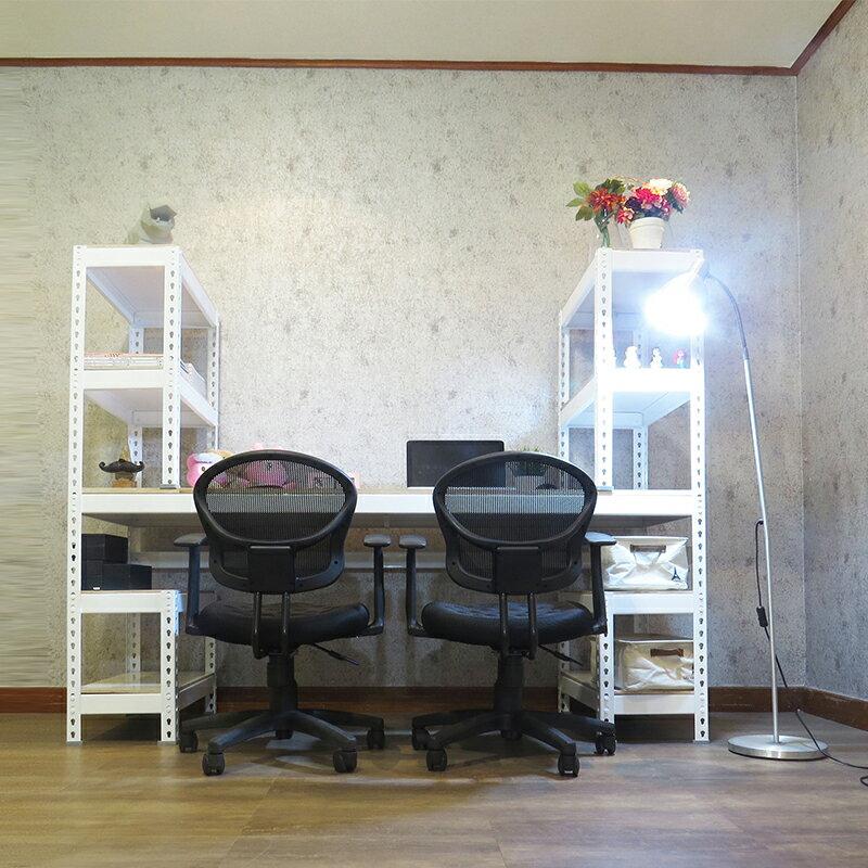 辦公桌 工作桌 免螺絲角鋼 H型雙向  白色層架 書桌 (180x60x150cm) 空間特工【STW6210】 1