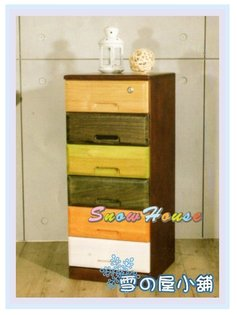 ╭☆雪之屋居家生活館☆╯AA565-06木工房六抽實木收納櫃置物櫃床頭櫃電話櫃電視櫃展示櫃斗櫃