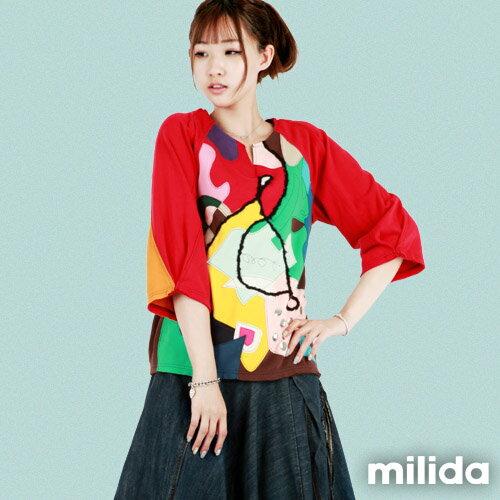【Milida,全店七折免運】-秋冬單品-T恤款-甜美拼貼款 0
