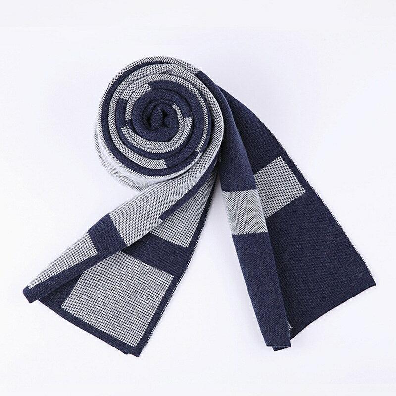 圍巾針織披肩-羊毛幾何提花拼色男配件3色73wi34【獨家進口】【米蘭精品】