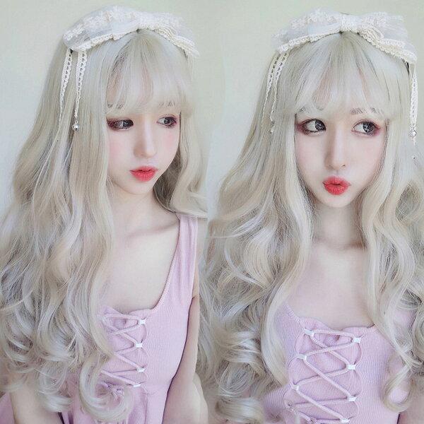 亞麻白金色女神級耐熱長捲髮超美假髮【MA442】☆雙兒網☆