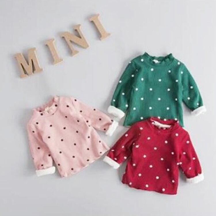 ~葉子小舖~ 款圓點 加絨衛衣  男女  嬰幼兒外套  嬰兒服飾  保暖抗寒  舒適柔軟