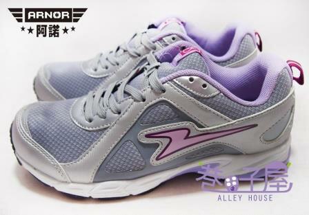 【巷子屋】ARNOR阿諾 女款三明治網布寬楦運動慢跑鞋 [26607] 灰紫 超值價$398