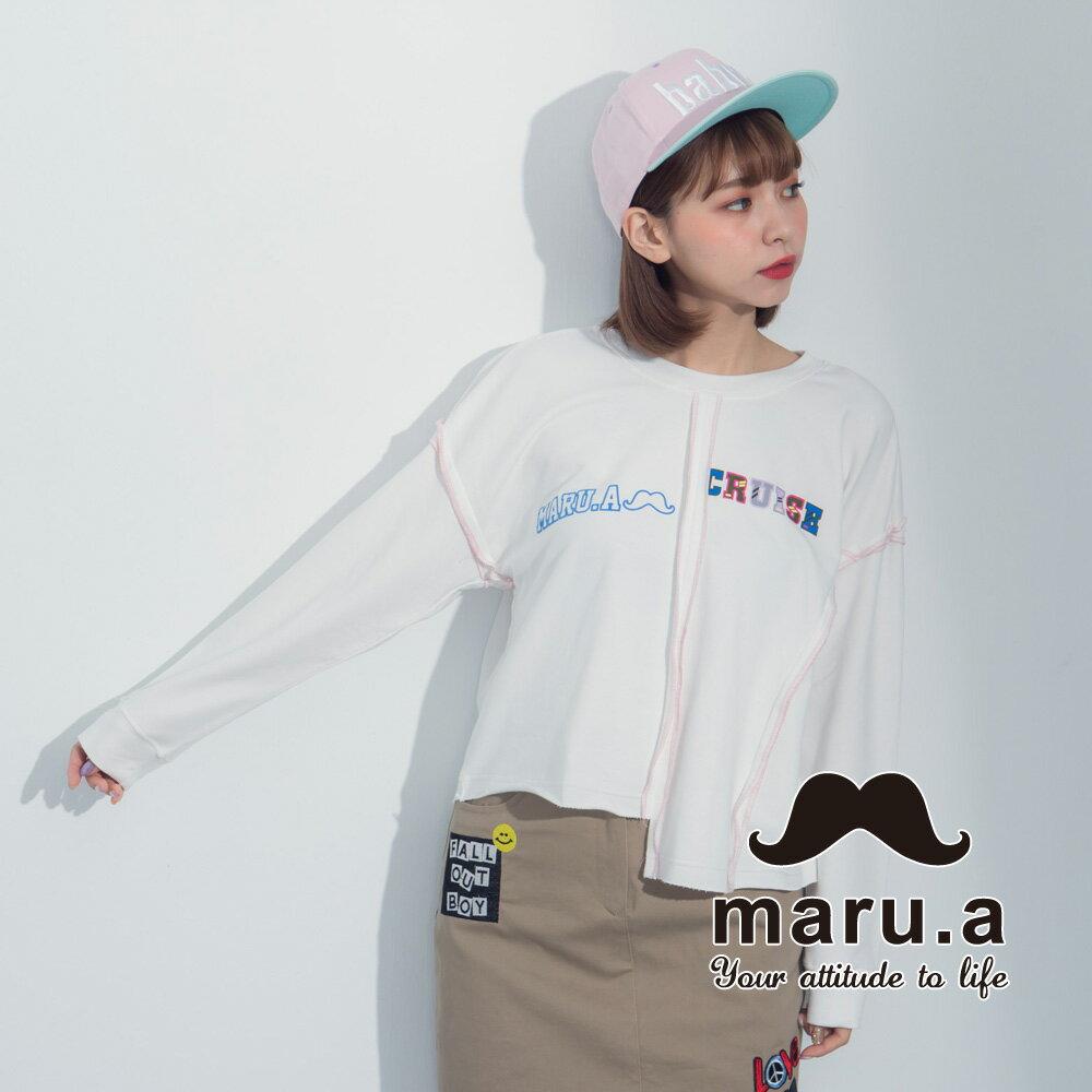 【maru.a】文字印花不對稱撞色車線T-Shirt  8321225 3