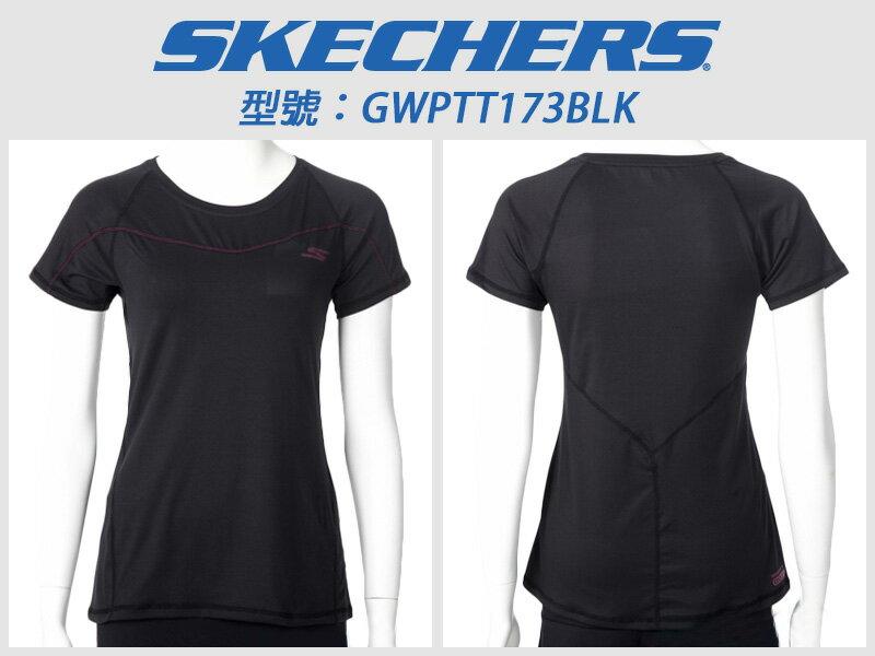 Shoestw【GWPTT173BLK】SKECHERS 運動短袖 彈性排汗衣 黑桃紅 透氣