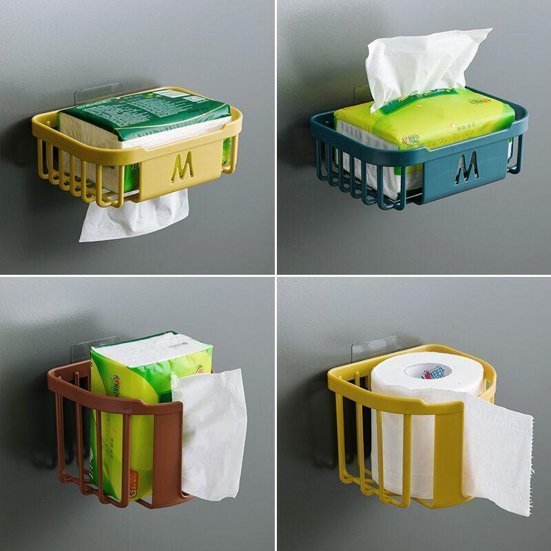 免打孔方形衛生紙置物架子衛生間紙巾盒壁掛式廁所放廁紙架卷紙盒