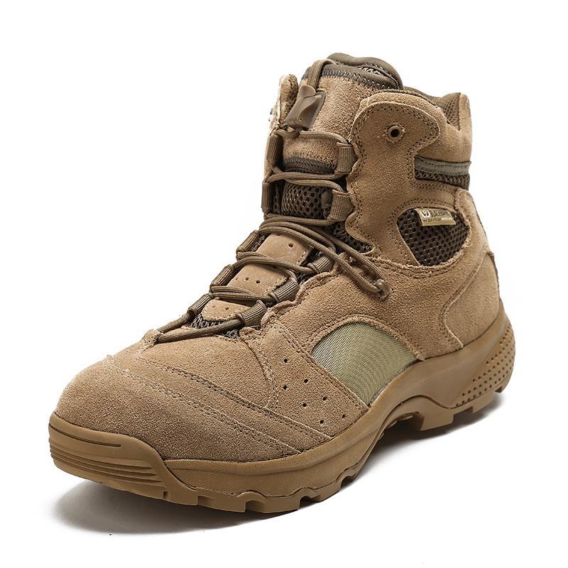 黑鷹軍靴男特種兵低幫沙漠靴軍迷511戰術靴真皮作戰靴戶外登山靴1入