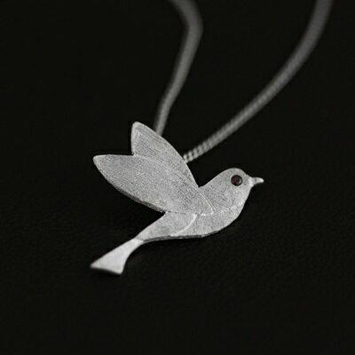 925純銀項鍊 寶石吊墜~簡潔清新小鳥百搭七夕情人節 女飾品2色73gm52~ ~~米蘭