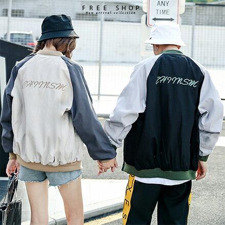 Free Shop:FreeShop男女情侶款韓版街頭潮流風撞色拼接字母羅紋棒球外套夾克防風外套有大尺碼【QMD50305】