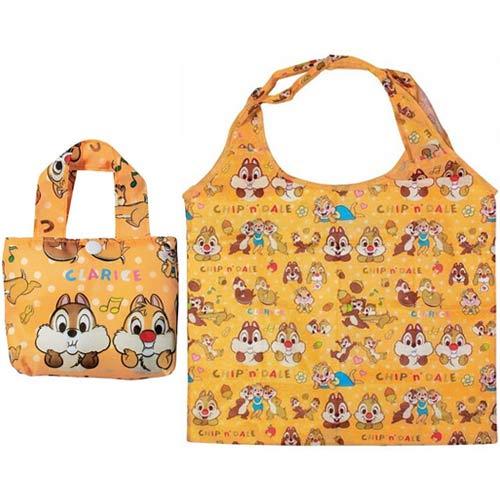 【日本進口正版】迪士尼 奇奇蒂蒂 摺疊 購物袋 環保袋 手提袋 防潑水 Disney - 047576