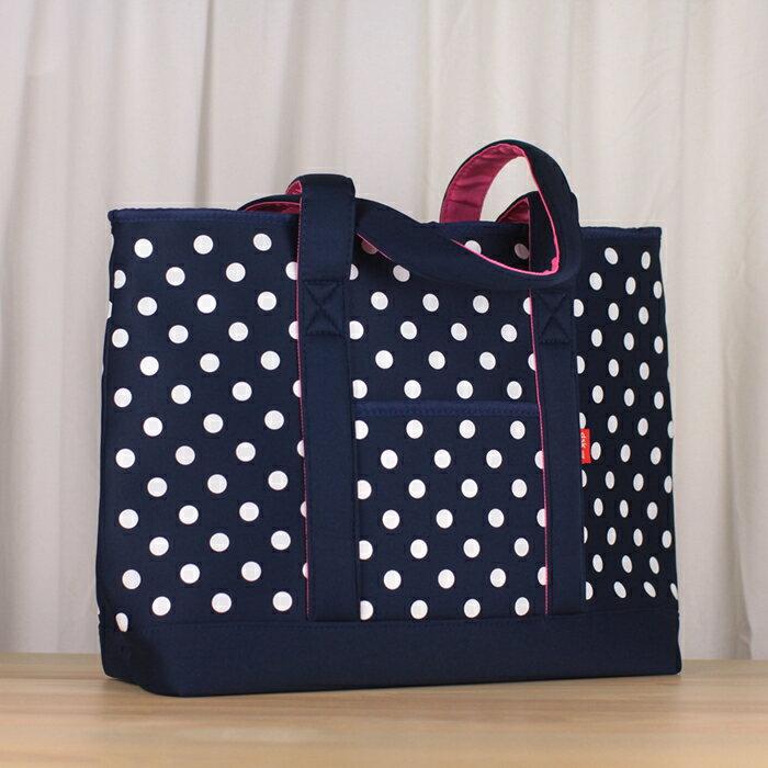 【日本CB JAPAN】水玉點點系列可洗可拆保冷托特肩揹袋20L-深海藍(野餐袋/便當袋/包包/保溫袋/保冷袋)