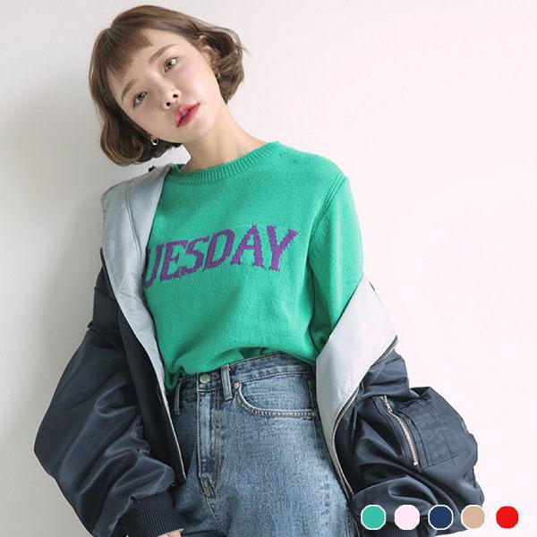 PS Mall 圓領顯瘦百搭純色字母針織長袖T恤 上衣 【T1756】 - 限時優惠好康折扣