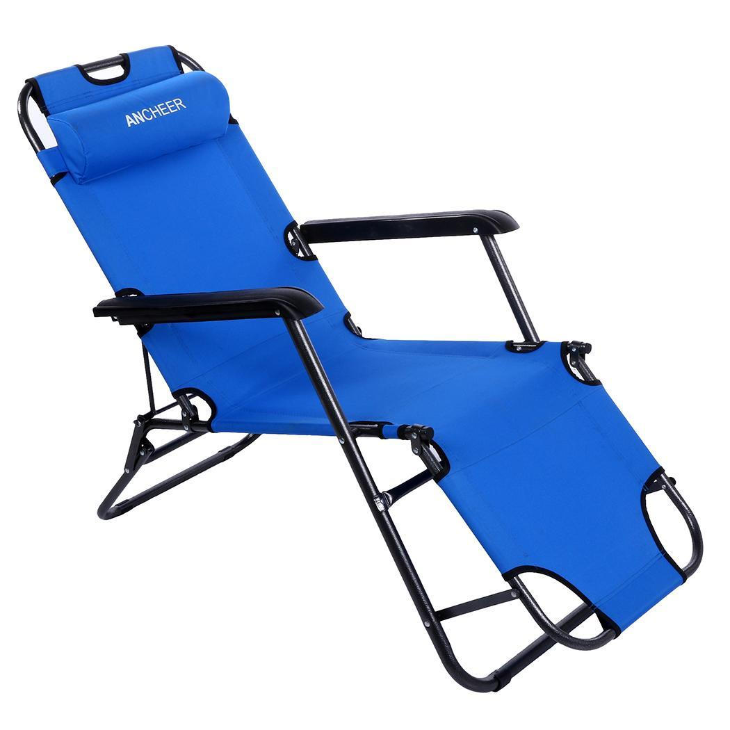 Folding Lounge Nylon Outdoor Recliner With Pillow 5